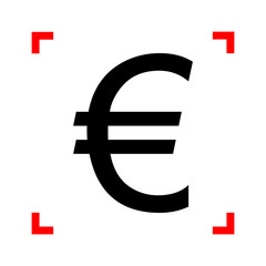 Euro sign. Black icon in focus corners on white background. Isol