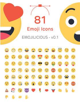 81 Friendly Vector Emoticons - Emojilicious v0.1