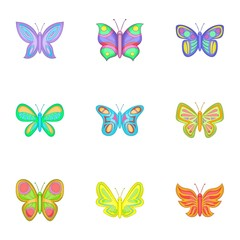 Colored butterfly icons set, cartoon style
