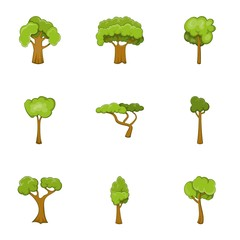 Green tree icons set, cartoon style