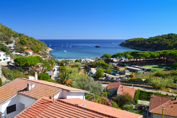 Panoramic view of Fetovaia beach, Elba Island, Tuscany, Italy