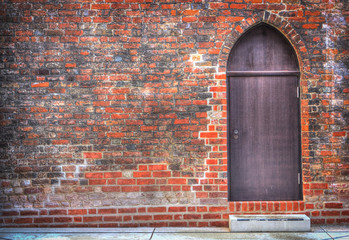 View of an old door to church