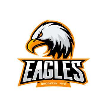 Furious eagle sport vector logo concept isolated on white background. Web infographic New York Brooklyn team pictogram. Premium quality wild bird t-shirt tee print illustration.