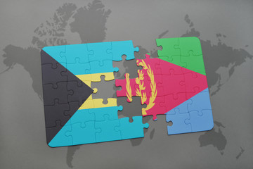 puzzle with the national flag of bahamas and eritrea on a world map