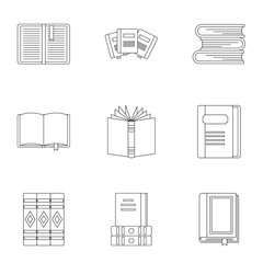 Books icons set, outline style