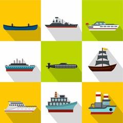 Ship icons set, flat style