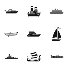 Yacht icons set, simple style
