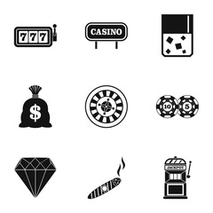 Gambling house icons set, simple style