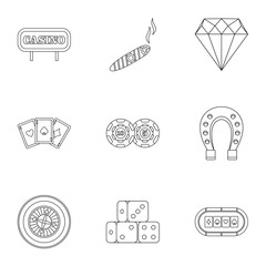 Gambling icons set, outline style