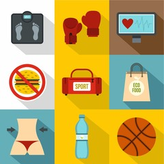 Active sport icons set, flat style