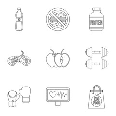 Sport icons set, outline style