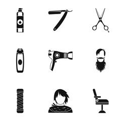 Hair cut icons set, simple style