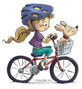 niña en bicicleta con su perro