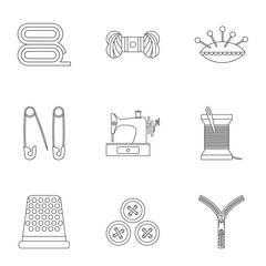 Accessories for sewing workshop icons set