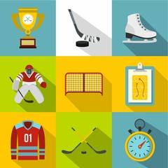 Hockey icons set, flat style