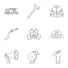 Firefighter icons set, outline style