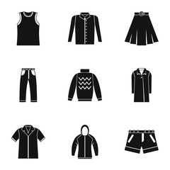 Types of clothes icons set, simple style