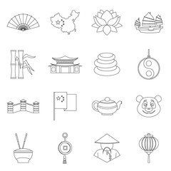 China travel symbols icons set, outline style