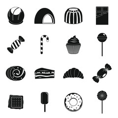 Sweets and candies icons set, simple style