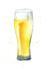 Glass of a beer. Picture of a alcoholic drink. Watercolor hand drawn illustration.