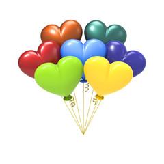 3D illustration colour balloon hearts