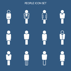 Business people icons set isolated on blue backdrop. Vector illustration