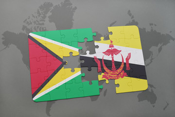 puzzle with the national flag of guyana and brunei on a world map