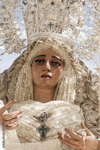 Virgen De La Hermandad De La Paz Semana Santa De Sevilla Stock