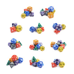 Pile of polyhedral dices isolated