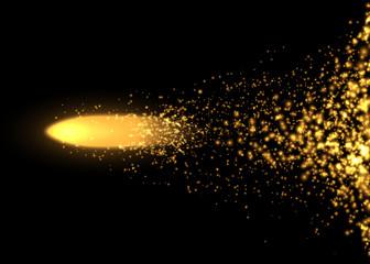Flying bullet from light particles. Vector illustration.
