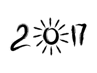 Grunge hand drawn numbers. The New year sign. Abstract cartoon sun. The simbol of the 2017.