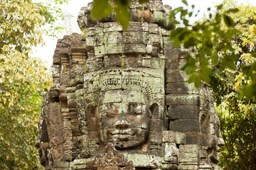Image of a Face tower in the forest of Cambodia