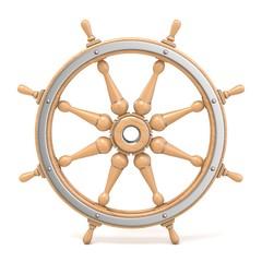 Wooden ship wheel 3D