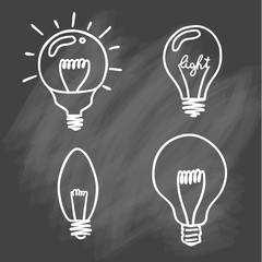 Light bulbs icon set. concept of big ideas inspiration, innovation, invention, effective thinking. CFL lamp.  Isolated. Vector illustration.  Idea symbol. Vector. sketch . On chalk background