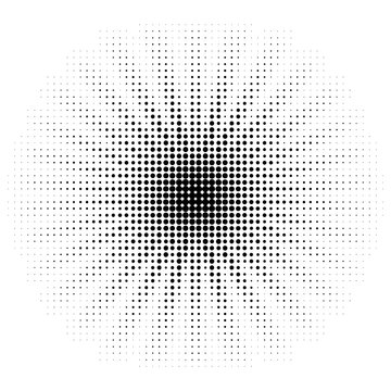 Vector halftone sun. Dotted retro design element. Dotted star form.