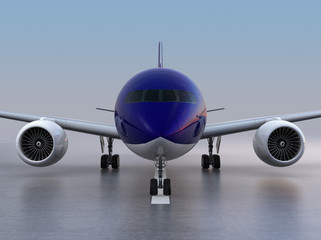 Front view of passenger airplane taxiing on the runway. 3D rendering image.