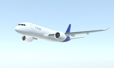 Cargo airplane flying in the sky. 3D rendering image.