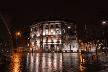 Vintage Building In Liverpool At Night