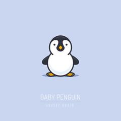 Baby penguin illustration in flat linework style