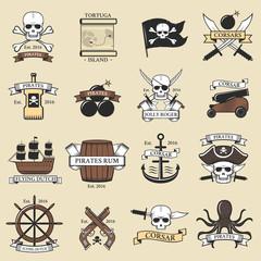 Modern professional pirate logo marine badges nautical sword old skeleton banner template and skull roger sea icon captain ocean art element vector illustration.