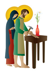 Holy family of Jesus, Mary and St Joseph the worker. Artistic abstract religious design.