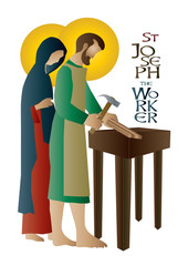 St Joseph the worker, abstract artistic religious design