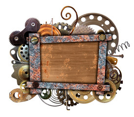 Quadrangular vignette with copper details