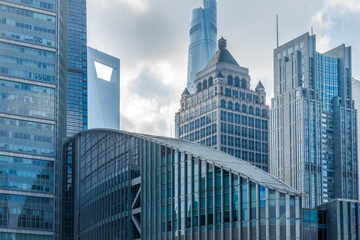 landmarks of modern city,financial district in China.
