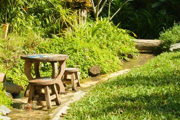 wooden chairs in garden