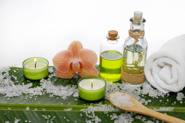 Spa set on banana leaf with orchid