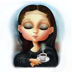 Mona Lisa with Italian Espresso