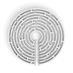 3d rendering of a white round maze with a direct route cut right to the center.