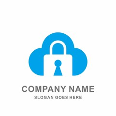 Cloud Padlock Key Safety Security System Technology Protection Business Company Stock Vector Logo Design Template