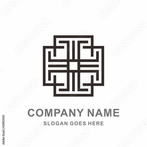 Geometric Square Cross Morocco Pattern Interior Motif Decoration Business  Company Stock Vector Logo Design Template